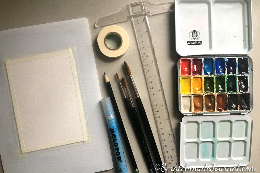 Recommended watercolor supplies for my tutorial - ScratchmadeJournal.com