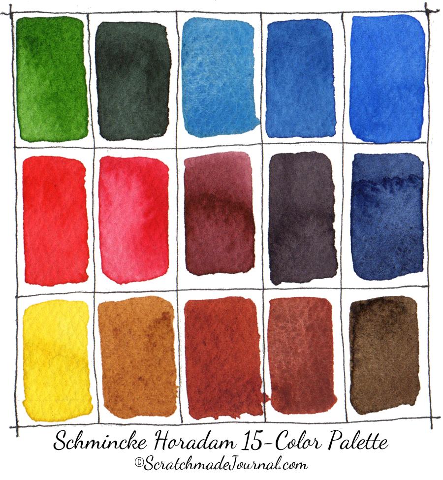 Recommended Schmincke Horadam 15-color watercolor palette - ScratchmadeJournal.com