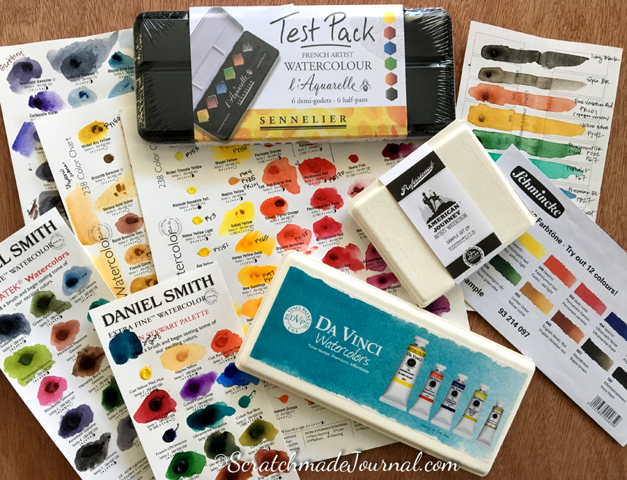 Shopping for watercolor sample sets - ScratchmadeJournal.com