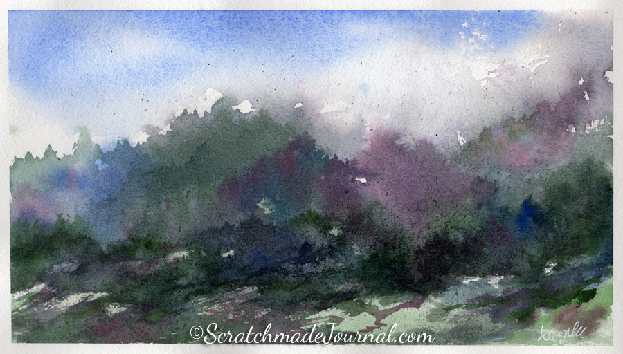 Blue Ridge Mountains watercolor landscape - ScratchmadeJournal.com