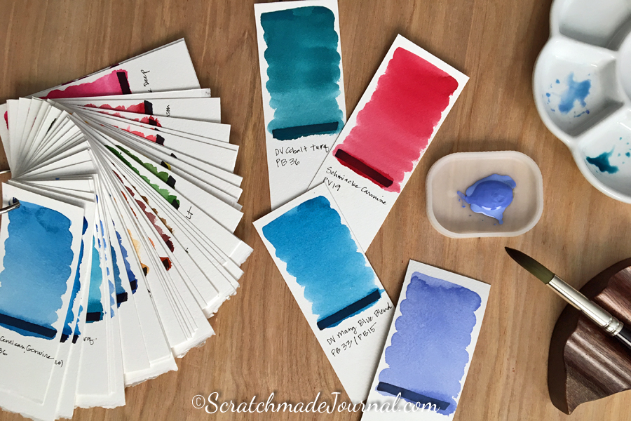 Watercolor paint swatch chips - ScratchmadeJournal.com