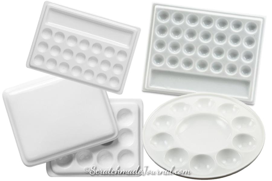 Porcelain watercolor palettes for storing paint - ScratchmadeJournal.com