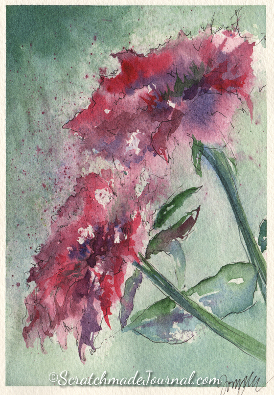 Pink Peonies flower watercolor - ScratchmadeJournal.com