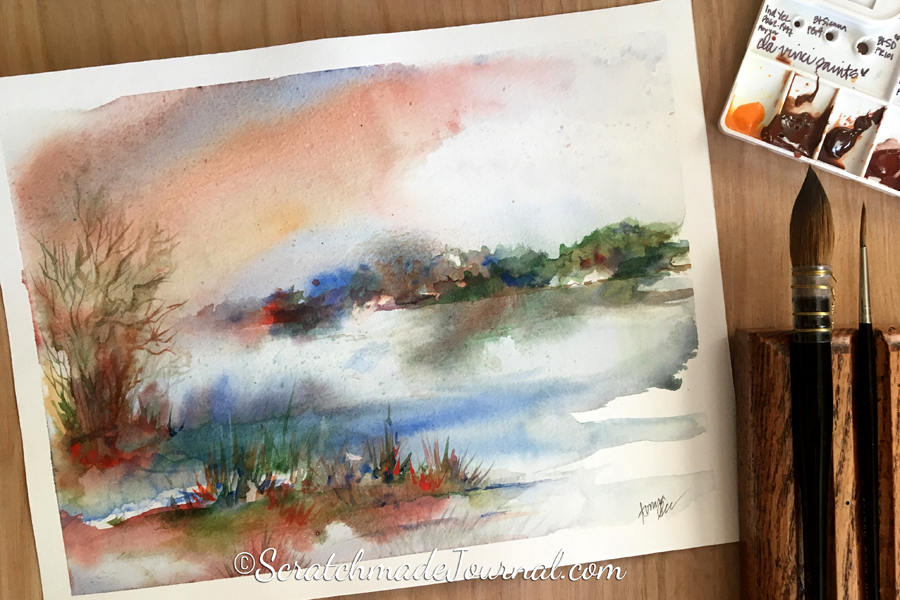 Sunrise over the marsh watercolor landscape - ScratchmadeJournal.com