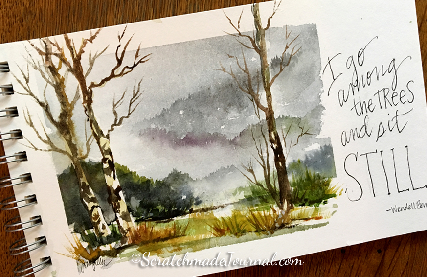 Wooded mountain watercolor landscape with Wendell Berry quote on Hahnemuhle Bamboo - ScratchmadeJournal.com