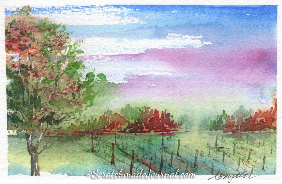 Watercolor landscape of an autumn vineyard - ScratchmadeJournal.com
