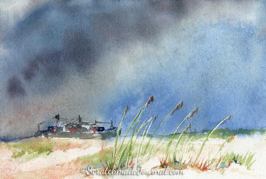 Cape Fear River freighter ship beach watercolor landscape on Hahnemühle paper - ScratchmadeJournal.com