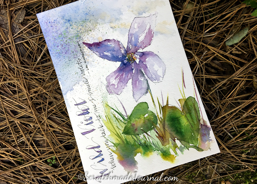 Wild violet watercolor painting journal page on Hahnemühle Leonardo - ScratchmadeJournal.com
