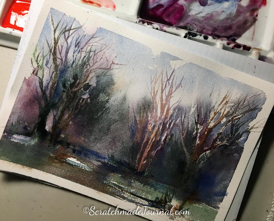 Dark forest wooded watercolor landscape scene on Hahnemühle Turner - ScratchmadeJournal.com