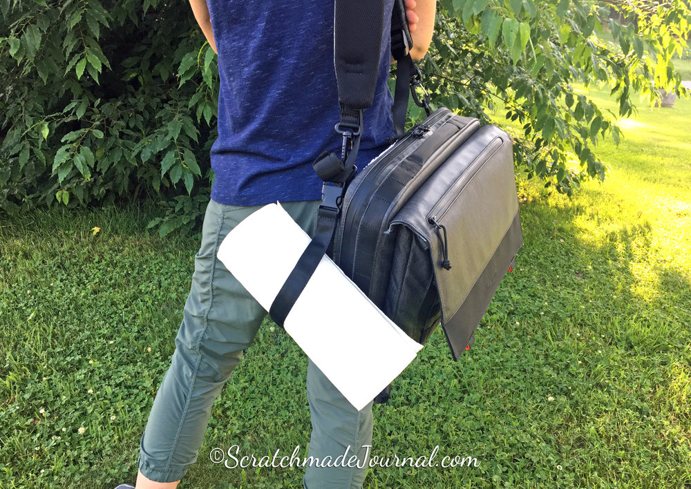 The Etcher satchel filled with my usual watercolor & sketching supplies weighs 10+ pounds. Ouch!