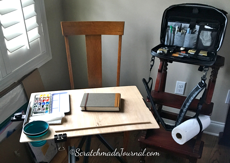 While testing, my favorite travel setup included my portable art supply tool chest, aka the Etchr art satchel in study mode. I kept the field case in my daypack for on-the-go sketching.