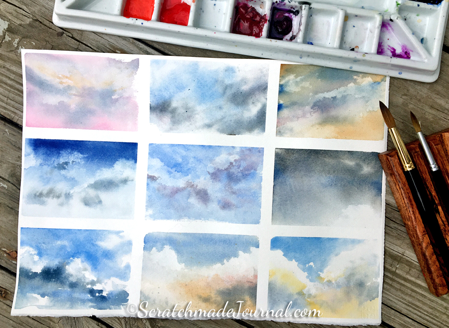 Watercolor tutorial on how to paint skies and clouds - ScratchmadeJournal.com