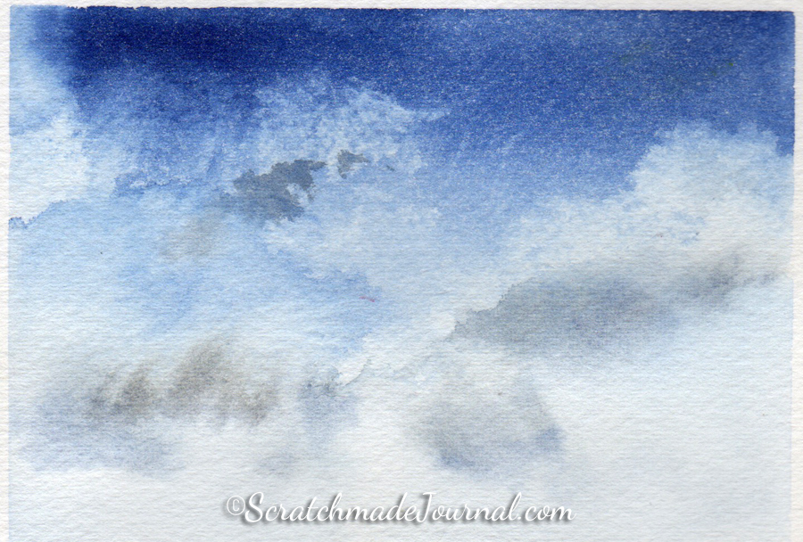 Watercolor tutorial and colors for deep blue skies - ScratchmadeJournal.com