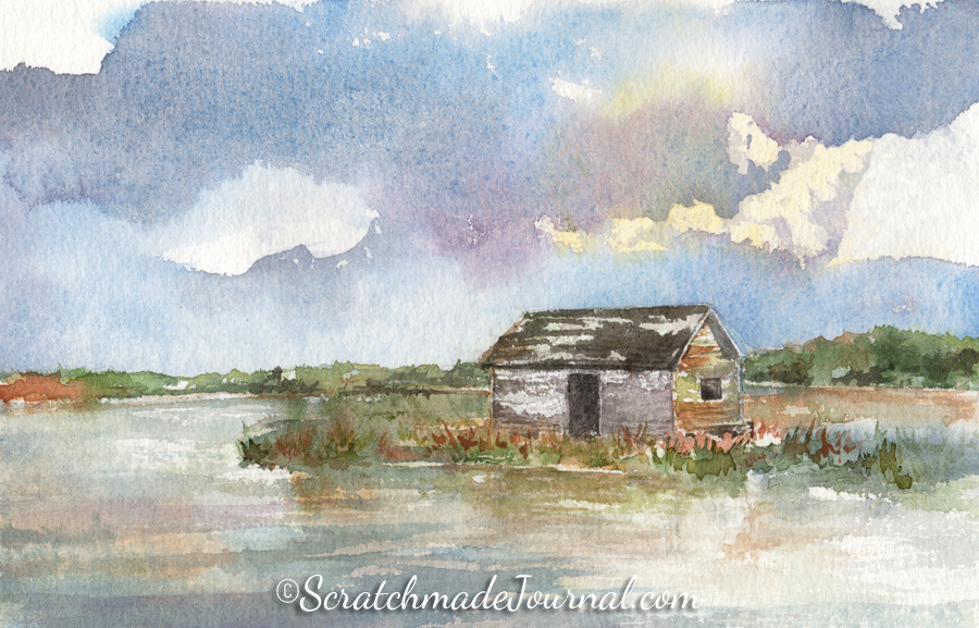 Dawn at the Bald Head Island boathouse watercolor painting - ScratchmadeJournal.com