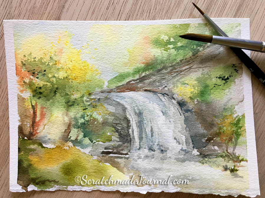 You don't need a lot of expensive brushes to create art. I only used two Princeton Elite rounds (pictured) to paint this landscape of Looking Glass Falls in North Carolina.