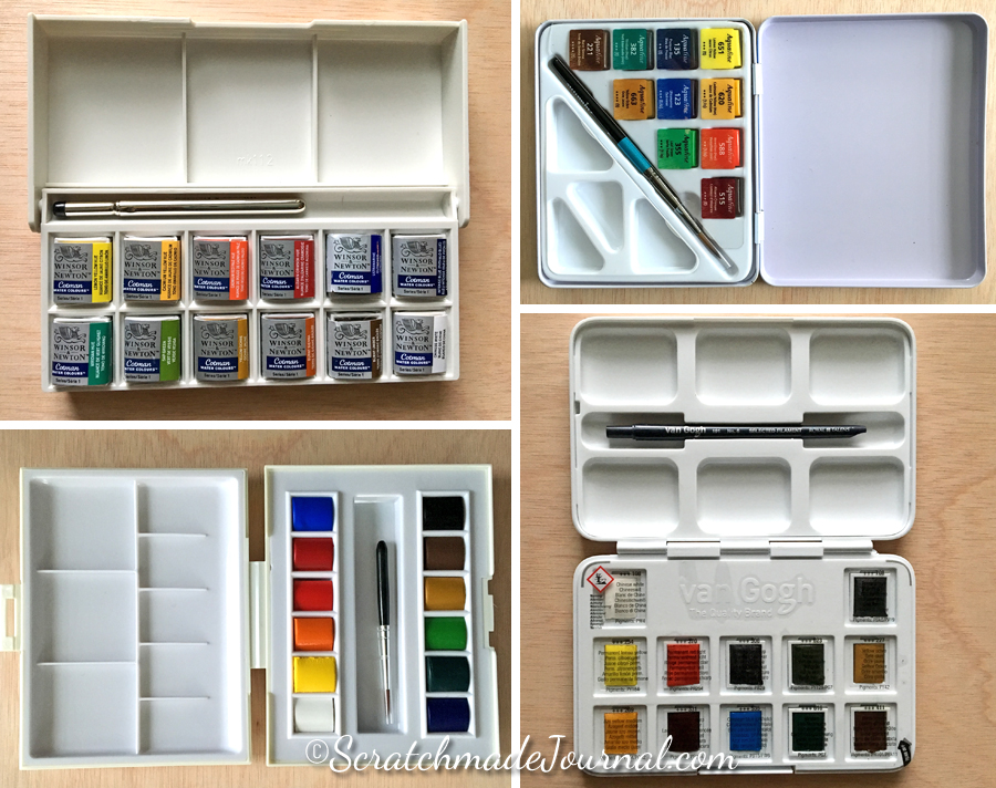 A review of four different brands of student grade watercolors & sets - ScratchmadeJournal.com