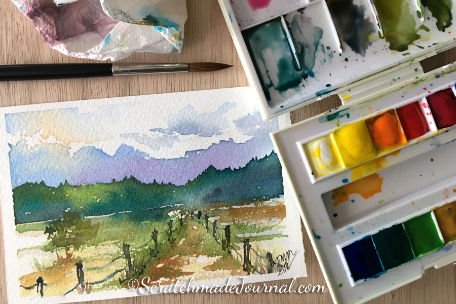 Review of Sennelier La Petite watercolor & how it compares to other student paint sets - ScratchmadeJournal.com