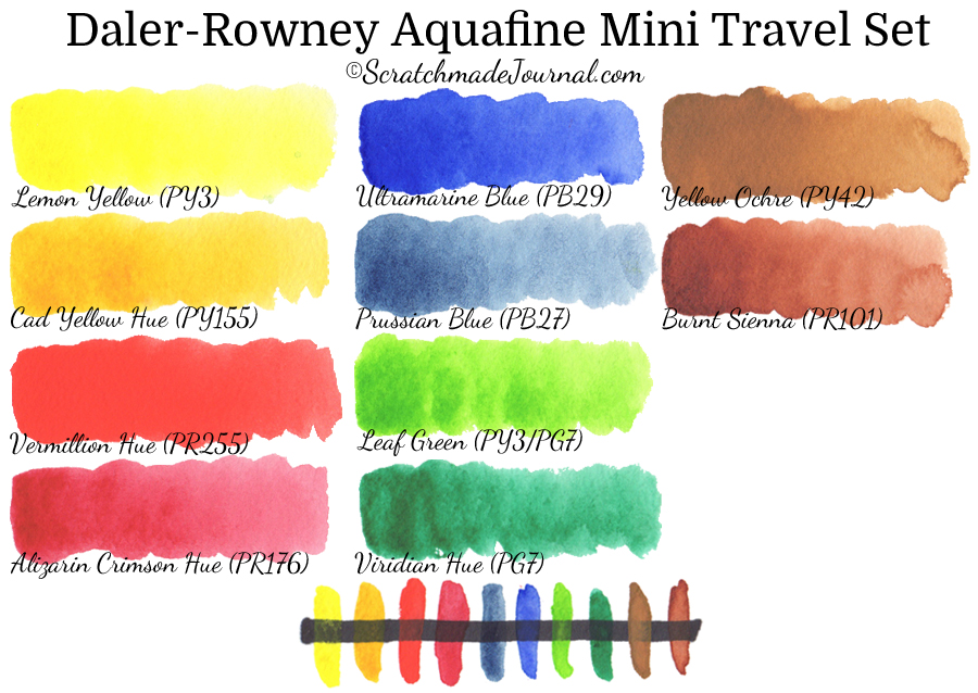 Daler-Rowney Aquafine travel set watercolor paint swatches & review - ScratchmadeJournal.com