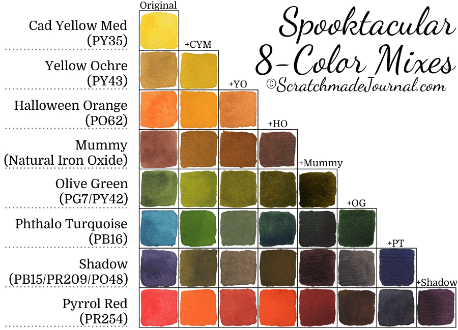 8-color fall palette mixing chart - ScratchmadeJournal.com