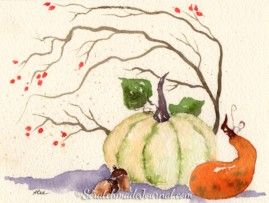 Pumpkin fall harvest watercolor illustration - ScratchmadeJournal.com