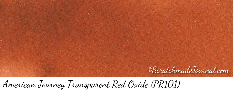 American Journey Transparent Red Oxide PR101 watercolor swatch - ScratchmadeJournal.com