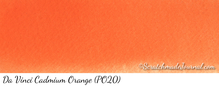 Da Vinci Cadmium Orange PO20 watercolor swatch - ScratchmadeJournal.com