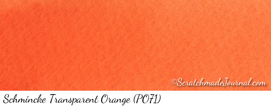 Schmincke Horadam Transparent Orange PO71 watercolor swatch - ScratchmadeJournal.com