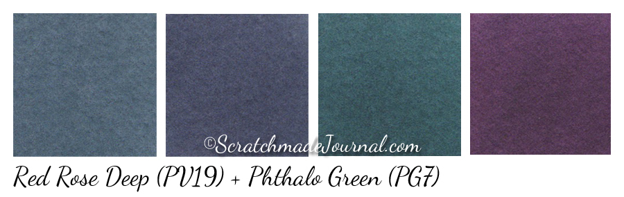 Quinacridone Rose & Phthalo Green watercolor mixes - ScratchmadeJournal.com