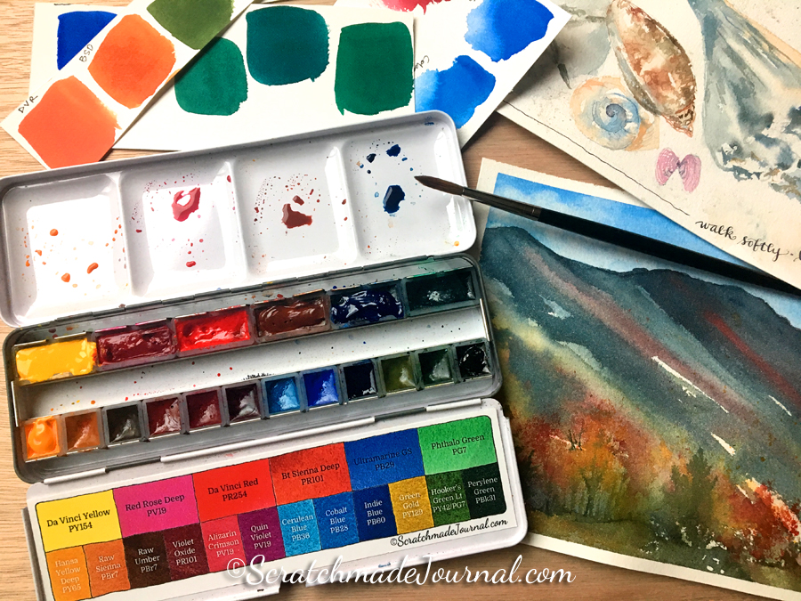 Introducing the Scratchmade Da Vinci Watercolor Palette 18-pan set - ScratchmadeJournal.com