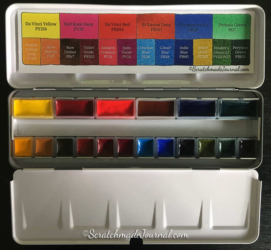 The Scratchmade watercolor palette is a custom designed pan set filled with 18 perfect colors of Da Vinci paints - ScratchmadeJournal.com