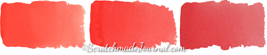 Cadmium red watercolors dilute flawlessly from strong to soft and from more opaque to transparent. They are stable mixers, aren't prone to fading, and are completely safe to use in a palette. My scanned swatches don't do these beautiful colors justice. Da Vinci watercolors from left to right:  Cadmium Red Light ,  Cadmium Red Medium , and  Cadmium Red Deep .
