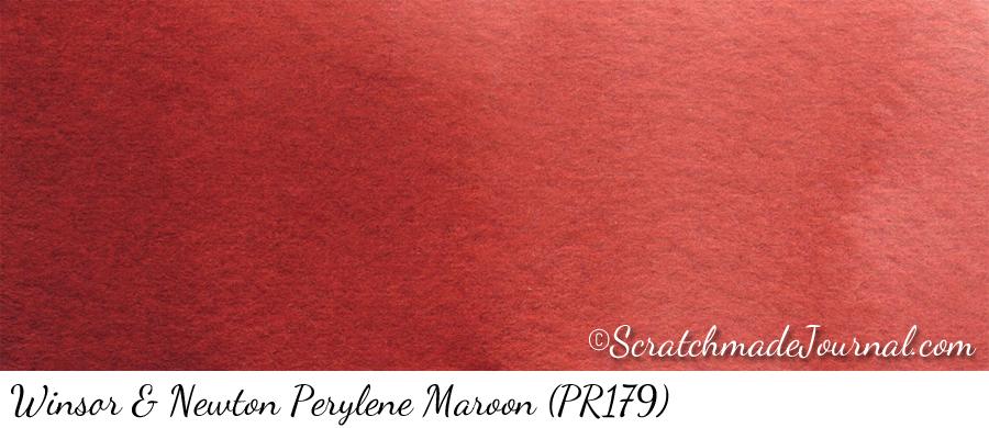 Winsor Newton Perylene Maroon (PR179) watercolor swatch ©ScratchmadeJournal.com