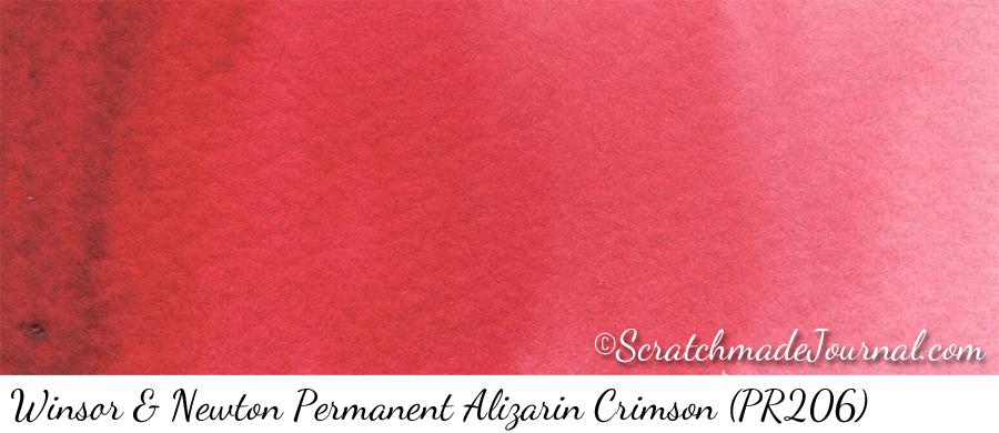 Winsor Newton Permanent Alizarin Crimson (PR206) watercolor swatch - ScratchmadeJournal.com