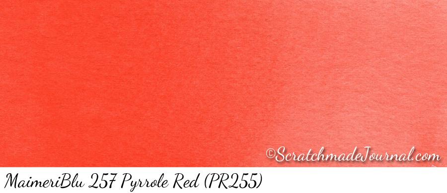MaimeriBlu 257 Pyrrole Red (PR255) watercolor swatch - ScratchmadeJournal.com