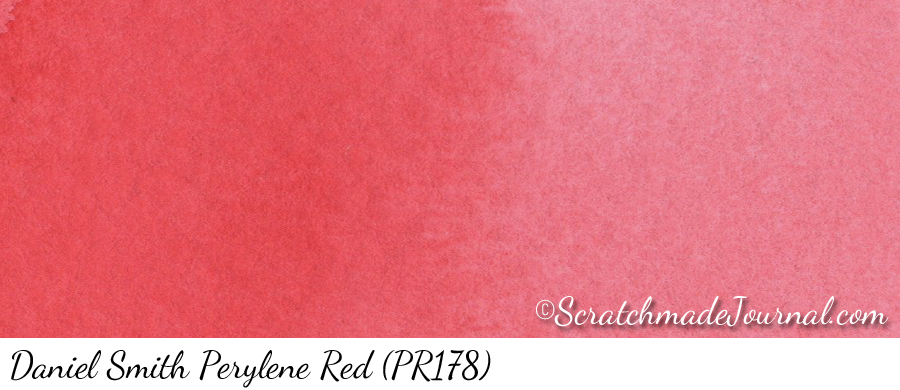 Daniel Smith Perylene Red (PR178) watercolor swatch - ScratchmadeJournal.com