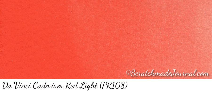 Da Vinci Cadmium Red Light (PR108) watercolor swatch - ScratchmadeJournal.com