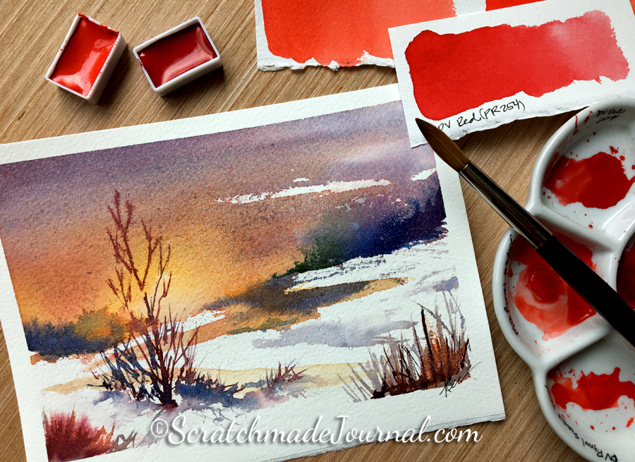 Bold winter watercolor snow landscape with red - ScratchmadeJournal.com