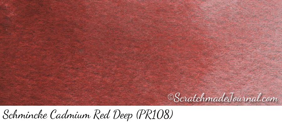 Schmincke Cadmium Red Deep (PR108) watercolor swatch - ScratchmadeJournal.com
