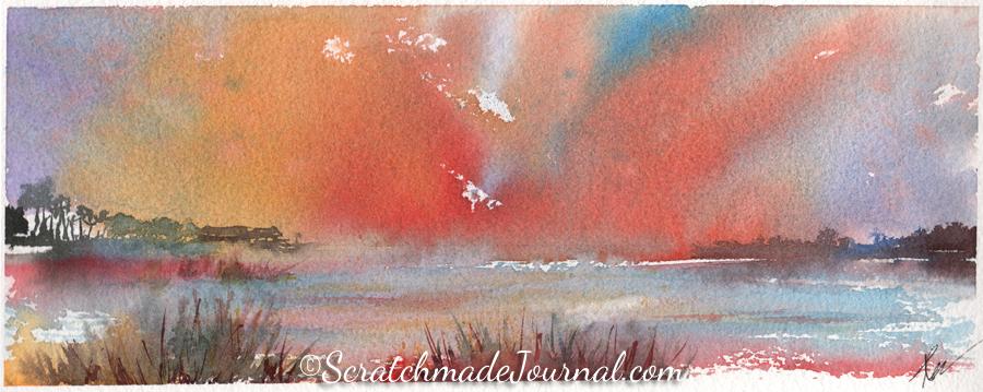 Brilliant coastal sky sunset landscape watercolor - ScratchmadeJournal.com