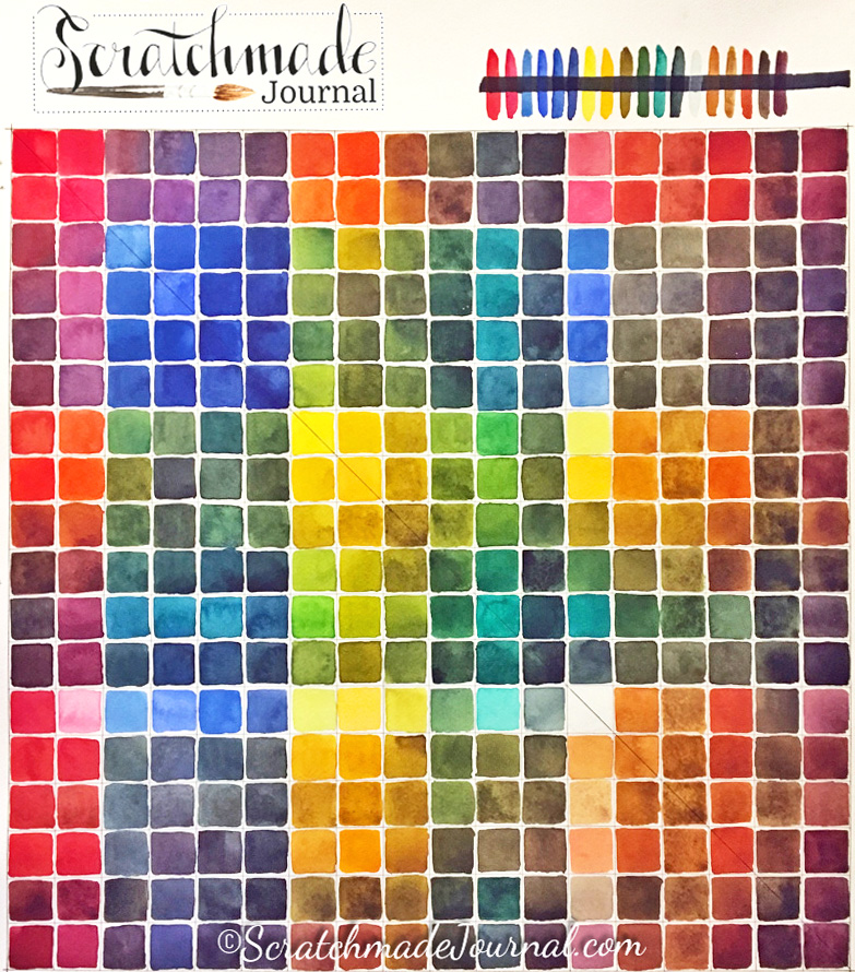 Mega watercolor mixing chart plus instructions for creating your own - ScratchmadeJournal.com