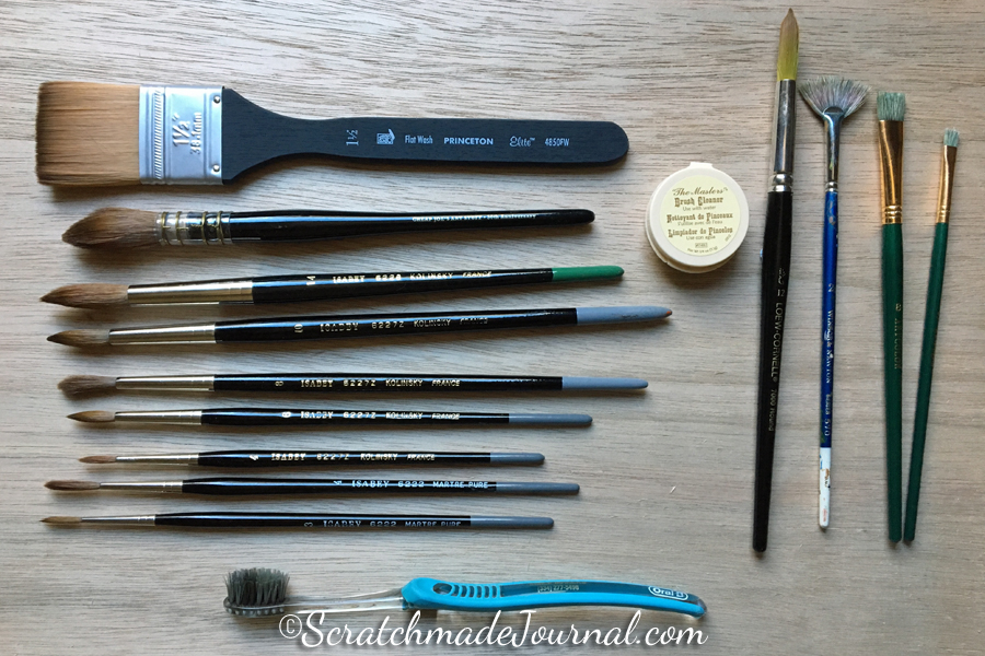 Besides a few brushes for travel, these are all of the watercolor brushes that I own. Since I don't have buckets of brushes, I use all of my brushes all of the time. Oh how I the simplicity of fewer things!