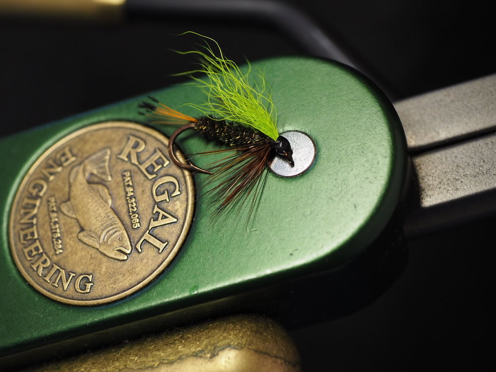 Chartreuse wing, peacock herl body and golden pheasant tippet tail