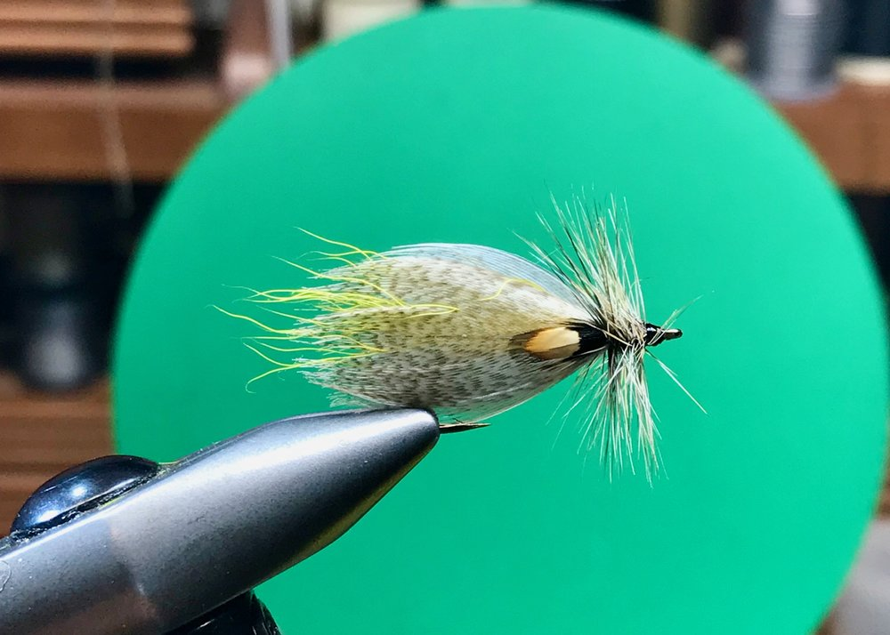 Hornberg Special tied with calf tail wing and dry fly hackle