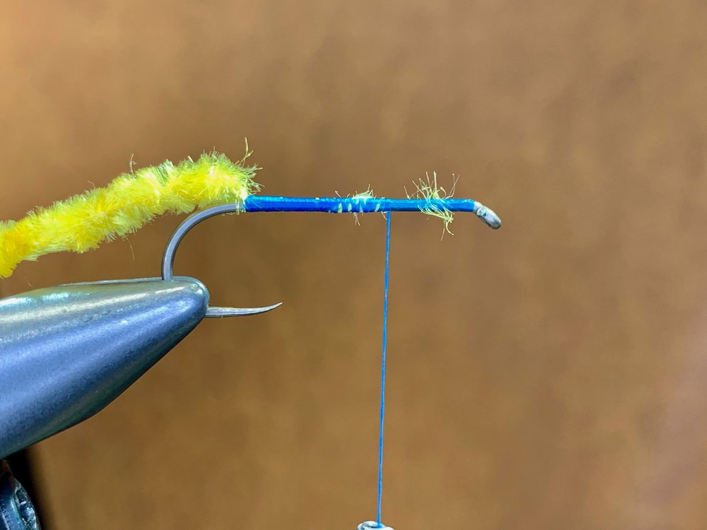 Step 3 - Secure the thread core of the chenille to the hook with, touching thread wraps to create a smooth underbody, Advance the thread three quarters of the way up the hook shank