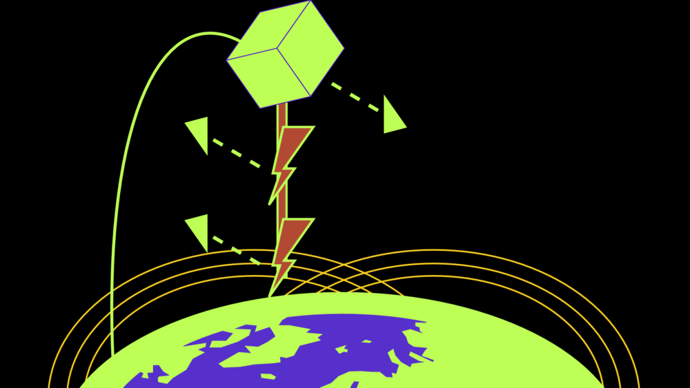 "Stylized Satellite and ""Electrodynamic Tether"""