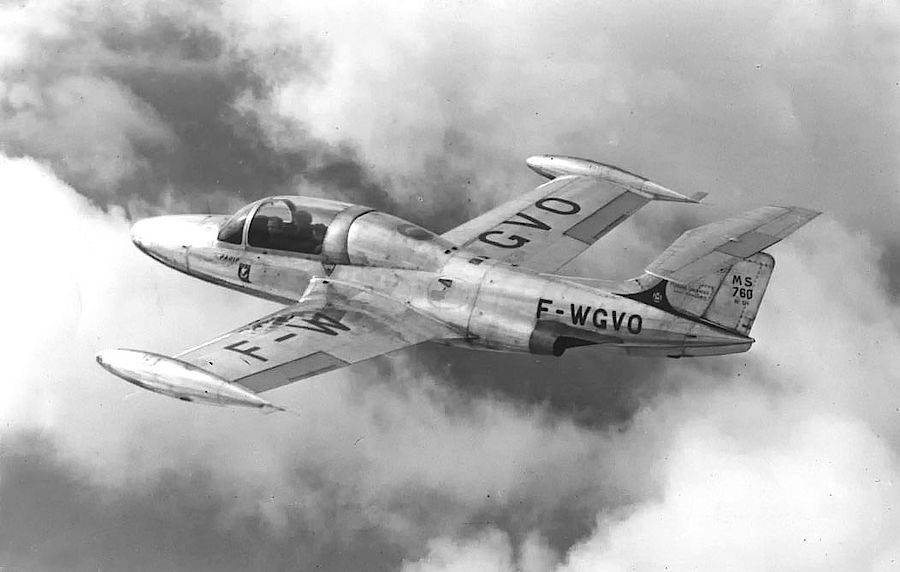 The prototype in flight early in 1955.  From Aviation Magazine via Minijets.o  rg