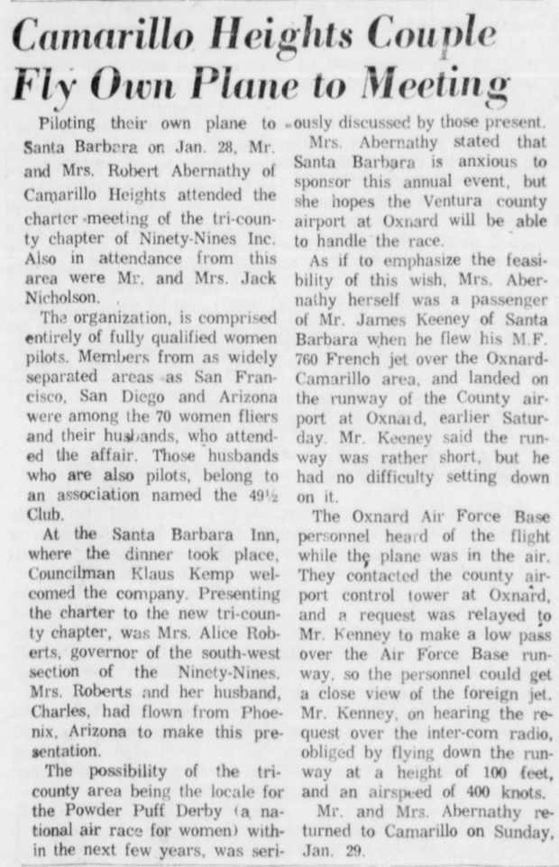 From the Oxnard Press Courier, February 4, 1961.