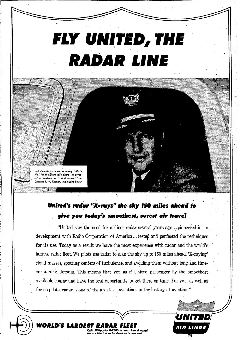 Mr. Keeney featured in an ad in the Oakland Tribune, July 16, 1957.