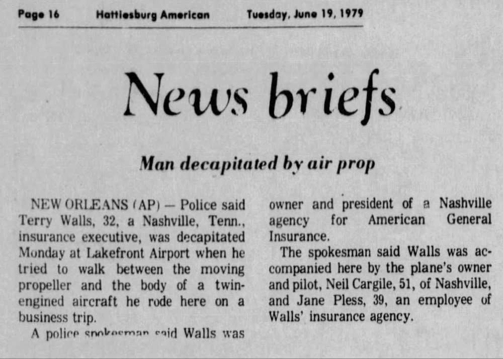 From the Hattiesburg American, June 19, 1979. N2NC had been sold two years prior.