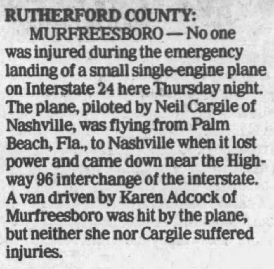 N2NC probably would not have handled an unpowered highway landing well. From The Sunday Tennessean, April 1, 1990.